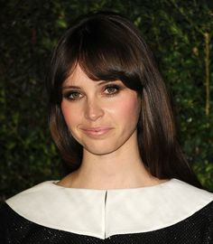 Chanel Oscars Party Hair and Beauty 2013 (Adorable bangs on Felicity Jones)