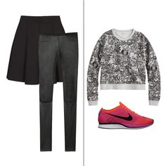 Skintight leather pants are a lux alternative to leggings. Pair them with a skater skirt of the same color, a printed sweatshirt and sporty kicks for an easy weekend ensemble