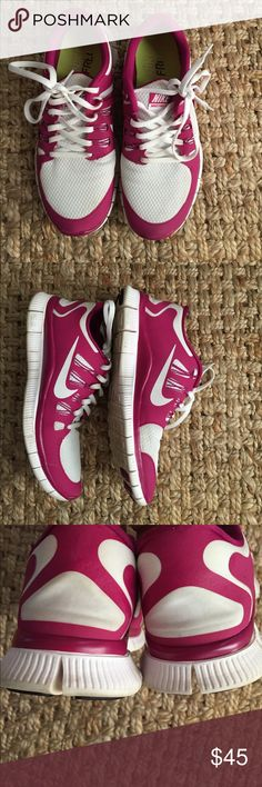 Pink and White Nike Free Runs Size Women's 8.5 Nike Free Runs Women's Size 8.5 . Gently Worn. Pink and White Nike Shoes Sneakers