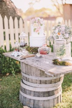 Whiskey barrel table | Jenny Sun Photography | http://burnettsboards.com/2014/01/enchanted-garden-editorial/