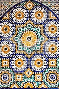 Arabic mosaic in Madressa Ali Ben Youssef, Marrakech Morocco royalty-free stock…