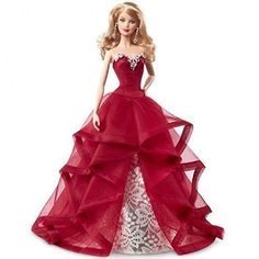 2015 (2014) Holiday Barbie Collector Doll Blond Hair Red Ruffle Dress Rare Doll CHR76