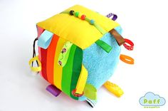 Baby Soft Fabric Developing Activity Cube Rattle Toy di PaffToys, $17.90