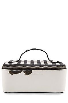 Just the right size for all of your make-up essentials, this zipped case from Marc by Marc Jacobs is styled with graphic black and white stripes and a soft-focus, artistic print #Stylebop
