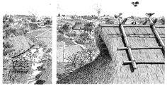 Maalaiskylien maisemaa hallitsevat talojen korkeat olki/ruokokatot.