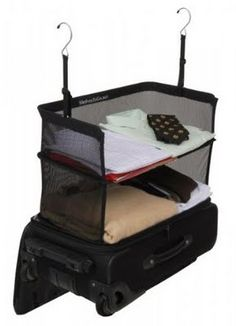 Collapsible shelves for suitcases... genius!