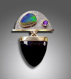 Pin / Pendant / Slide  Australian Boulder Opal  Faceted Amethyst with Black Onyx Blade ~ Sterling Silver, 18K and 22K Gold