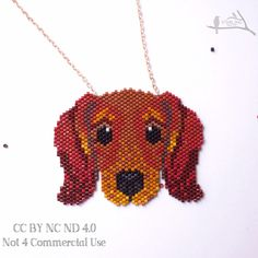 Excited to share this item from my #etsy shop: Free shipping. Beaded Dachshund dog Necklace original design made with Miyuki seedbeads on a tarnish resistant chain - rose gold/gold/silver