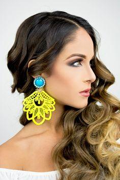Neon and Turquoise Chandelier Earrings, Long Earrings, Dangle Earrings Handmade Earrings, Bold Statement Earrings Neon Jewelry, Lace Jewelry, Custom Jewelry, Jewlery, Jewellery Diy, Fabric Jewelry, Unique Jewelry, Fancy Earrings, Earrings Handmade
