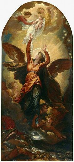 Benjamin West, American, The Woman Clothed with the Sun Fleeth from the Persecution of the Dragon, ca. 1797 Oil on paper laid down on wood panel 149 x 69 cm. Catholic Art, Catholic Saints, Religious Images, Religious Art, Jesus Christus, Queen Of Heaven, Religious Paintings, Blessed Mother Mary, Mary And Jesus