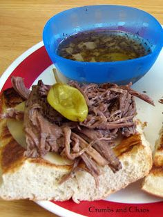 Italian Beef Sandwiches (crock pot) - This is one of those just-a-few-ingredients recipes, there is one star of the show…an entire jar of peperoncini peppers – juice and all. Roast Beef Recipes, Slow Cooker Recipes, Crockpot Recipes, Yummy Recipes, Dinner Recipes, Best Italian Recipes, Favorite Recipes, Beef Rump, Italian Beef Sandwiches