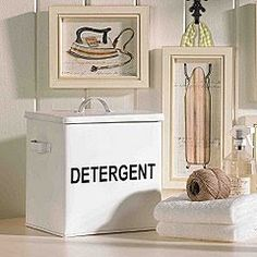 Detergent container made with a container from an Army-Navy surplus store Laundry Box, Drying Rack Laundry, Laundry Rooms, Drying Racks, Laundry Area, Laundry Room Inspiration, Vintage Laundry, Ballard Designs, Laundry Detergent