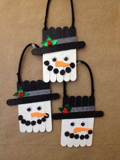 Snowman Decorations | Snowmen! | Primitive decor Popsicle Stick Crafts, Craft Stick Crafts, Easy Crafts, Tongue Depressor Crafts, Snowman Decorations, Snowman Crafts, Matchstick Craft, Nurse Crafts, Christmas Crafts For Kids