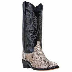 Dan Post Genuine Python Cowboy Boot. These are the type of boots Tec is wearing when he picks Larke up at the airport. His have silver tips.