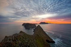 Sunset, Anacapa Island, Channel Islands National Park, Ventura County, California: Looking Down the Spine of the Island