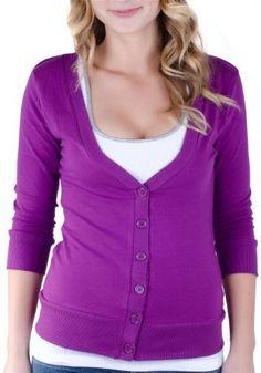 Juniors T-Shirt Fabric Cardigan 3/4 Sleeve 6 Button Many Colors (Large, Purple) Cotton Cantina,http://www.amazon.com/dp/B00BQKKWN8/ref=cm_sw_r_pi_dp_H2ubtb0KJWNJ83KX