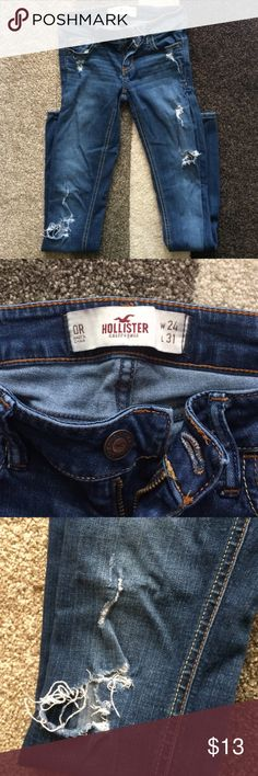 Hollister Jeans with holes size 0 GUC Used condition, hollister stretchy denim jeans, holes as shown, size 0R, hollister tag is split on back from wear, great pair of jeans otherwise! Hollister Jeans Skinny