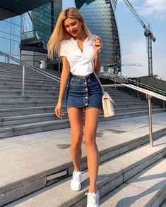 Allegra K Women's Casual Button Down Washed Mini Denim Skirt Fall Fashion Outfits, Spring Fashion, Fashion Ideas, Insta Outfits, Blue Denim Skirt, Popular Outfits, Teenage Girl Outfits, Cute Casual Outfits, Sexy Outfits