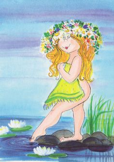 Neito suviyössä (Mermaid Suvi in the night) By Virpi Pekkala, Finland Illustration Girl, Character Illustration, Painting People, Cute Characters, Illustrations, Whimsical Art, Various Artists, Stone Painting, Cute Drawings
