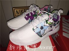 2015 #shoes #womens #sneakers  Sport Shoes Nike Roshe Run Womens London All White Purple and Blue Flowers