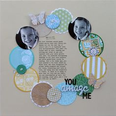 you amaze me | jenni bowlin studio - Scrapbook.com - Love the circles, stitching and design!