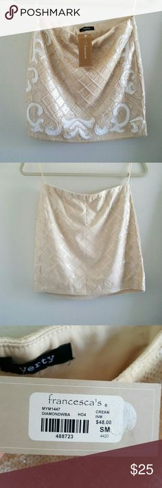 NWT Francescas party skirt Beautiful beaded/sequined nude and white party skirt, size small, fitted style Francesca's Collections Skirts Mini