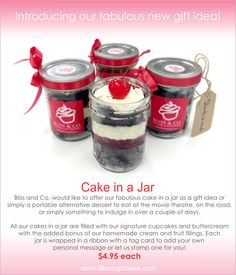 Introducing our fabulous new gift idea! Cake in a Jar. _love this for party favours!