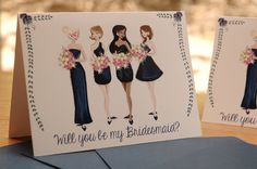 Custom // Will you be my bridesmaid? // etsy card #bridesmaids #bridemaid #bridesmaidcard #weddingcards #wedding #willyoubemybridesmaid
