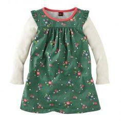 Cute Floral Green Dress For Little Girls | Tea Collection