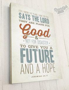 Bible Verse on Canvas, Christian Art, Rustic Vintage Style, Bible Verse Wall Decor, Jeremiah 29:11
