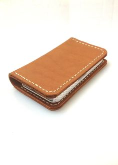 iPhone 4 Wallet with 2 Card Slots Red Brown by leathermix on Etsy