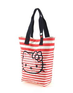 Hello Kitty Red Rice White Striped Canvas Shoulder HandBags - Hello Kitty Shoulder Handbags - Hello Kitty Stores :: BeardBrother Shoulder Handbags, Shoulder Bag, Hello Kitty Bag, Striped Canvas, Cosmetic Bag, Fashion Bags, Reusable Tote Bags, Rice, Wallet