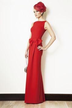 Rosa Blasco Vestido largo crepe rojo con lazo