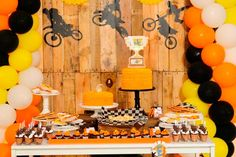 How about a boy's dirt bike birthday party? Strap on your helmet and prepare to get the dirt on bike shaped cookies, coordinating treats and decorations! Motocross Birthday Party, Bike Birthday Parties, Dirt Bike Birthday, Motorcycle Birthday, Motorcycle Party, Birthday Party Table Decorations, Birthday Backdrop, Birthday Diy, Dirt Bike Party