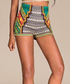 Look what I found on #zulily! Ivory Geo Stair-Step High-Waist Shorts #zulilyfinds