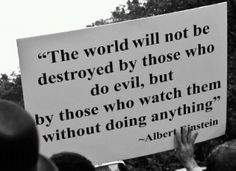 The world will not be detroyed by those who do evil, but by those who watch them without doing anything.  --Albert Einstein