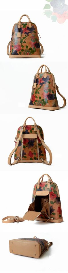 A pretty watercolor floral is printed on smooth leather for a chic backpack or crossbody bag with a feminine sensibility. Design with a