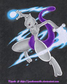 Blue Blaze Mewtwo by GenkoNoMiko Mew And Mewtwo, Pokemon Mewtwo, Pokemon Comics, Pokemon Go, Baby Pokemon, Cool Pokemon, Blue Blaze, Marvel Fan Art, Pokemon Pictures