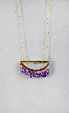 Raw Amethyst Slice Necklace  Long by keijewelry on Etsy, $78.00