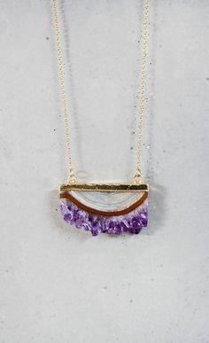 Raw Amethyst Slice Necklace - Long