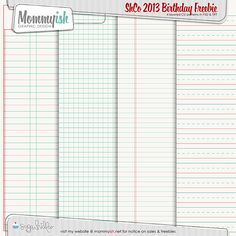 Mommyish: SHCO 3rd Birthday BH. Grid and lined paper templates. *
