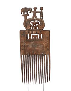 African Art, Carved Asante Comb #1615 | Combs | Artifacts — Deco Art Africa - Decorative African Art - Ethnic Tribal Art - Art Deco