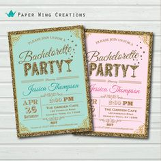 Elegant Bachelorette Party Invitation. Printable glitter gold, pink, turquoise bachelorette party invite. hen party, hens night DIY BC19 on Etsy, $15.00