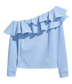 One shoulder-blus | Blå/Randig | Dam | H&M SE