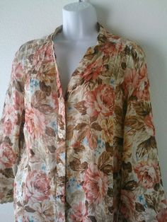 Plus Size Button Down Shirt Brown Floral Top SZ 22W 100% Cotton Alfred Dunner LS