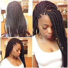 All styles of box braids to sublimate her hair afro On long box braids, everything is allowed! For fans of all kinds of buns, Afro braids in XXL bun bun work as well as the low glamorous bun Zoe Kravitz. Thick Box Braids, Cute Box Braids, Short Box Braids, Blonde Box Braids, Small Braids, Black Girl Braids, Pretty Braids, Tree Braids Hairstyles, Try On Hairstyles
