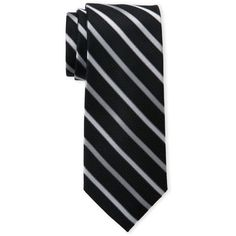 Isaac Mizrahi Striped Silk Tie ($9.99) ❤ liked on Polyvore featuring men's fashion, men's accessories, men's neckwear, ties, white, mens white tie, mens striped ties, mens silk ties and mens ties