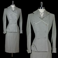 1940 | Grey Wool Suit Fitted at Waist with Straight Skirt and Rhinestones buttons by Lilli Ann