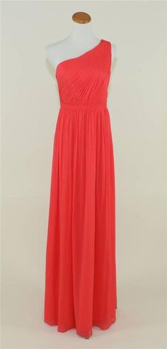 NEW J. CREW SILK CHIFFON KYLIE GOWN. J. CREW KYLIE DRESS. Color: Strawberry. It features detail pleating across the fitted bodice that swoops up to a single shoulder front, and is finished off with a beautiful flowing silk chiffon skirt. | eBay!
