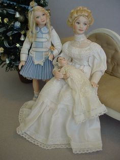 The Christmas Alphabet: F is for FIRST Christmas for baby to share.  Dollhouse dolls by Debbie Dixon-Paver